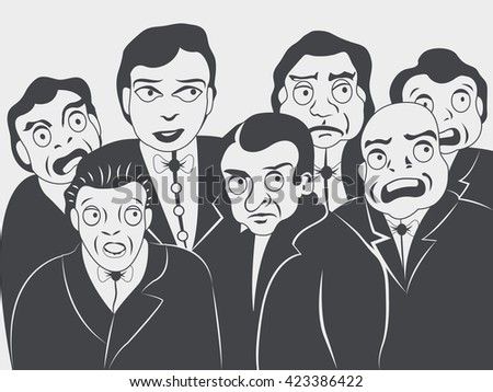 Mono color vector illustration of group of people looking intensively something - a fire, a car accident or someone who is going to jump from a building.