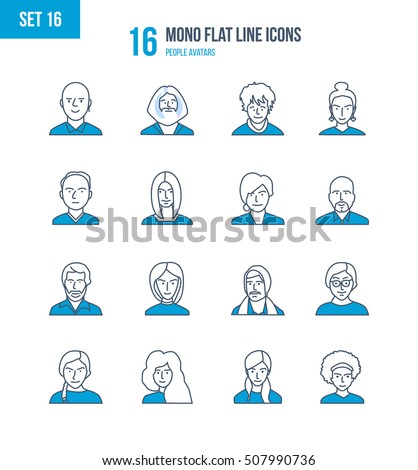 Mono Flat Line icons set of people and their avatars, images of people and their profession. Office worker, teacher, scientific researcher, manager, businessman. People avatars. Editable Stroke
