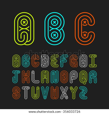 Mono lines style alphabetic fonts capital letter A,B,C,D,E,F,G,H,I,J,K,L,M,N,O,P,Q,R,S,T,U,V,W,X,Y,Z.Vector illustration. - stock vector
