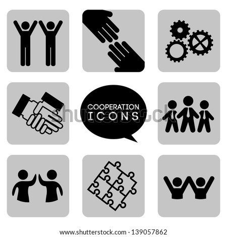 monochromatic  cooperation icons over white background vector illustration - stock vector