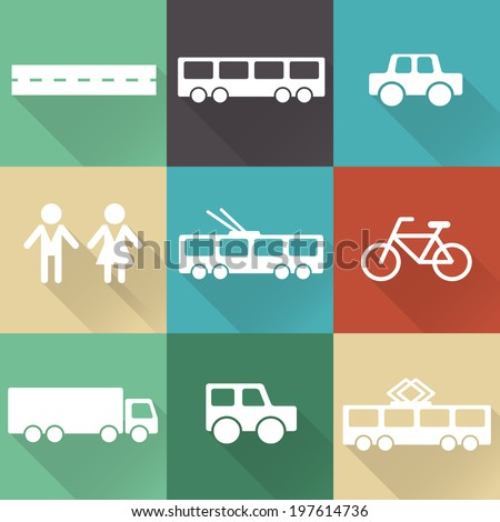 Monochromatic flat city elements with shades for creating your map. Easy to edit and recolor - vector object are separated in layers. Map elements for your pattern, web site or other type of design. - stock vector