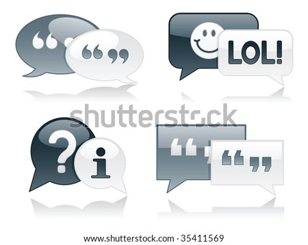 Monochromatic, glossy chat bubbles with drop shadows - stock vector