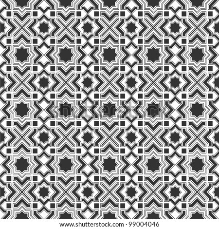 Monochromatic  Islamic pattern.Seamless vector - stock vector