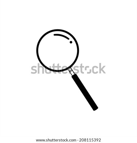 Monochromatic magnifying glass icon or search icon - stock vector