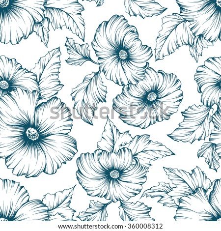 Monochromatic seamless floral pattern. Outline mallow flowers hand drawn background.  - stock vector