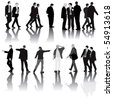 Monochromatic vector illustration of men in the office dressed in suit. Isolated with shadows on white background. - stock vector