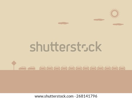 Monochromatic vector illustration of outdoor car park on a sunny day. Background design with copy space. - stock vector