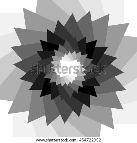 Monochrome Abstract Background. Polygons Twisted in Vortex Glowing from dark to light. Suitable for textile, fabric, packaging and web design. Vector Illustration. - stock vector
