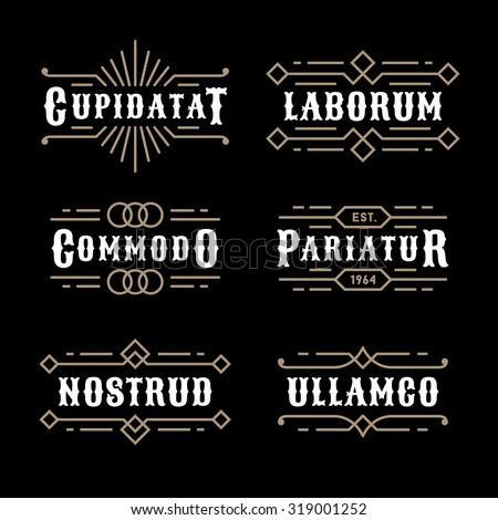 monochrome art deco luxury antique gold hipster minimal geometric vintage linear vector frame , border , label  for your logo, badge or crest for club, bar, cafe, restaurant, hotel, boutique