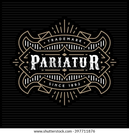 monochrome art deco luxury antique gold hipster  vintage linear vector frame , border , label  for your logo, badge or crest for club, bar, cafe, restaurant, hotel, boutique - stock vector