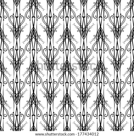 Monochrome Art Nouveau pattern.