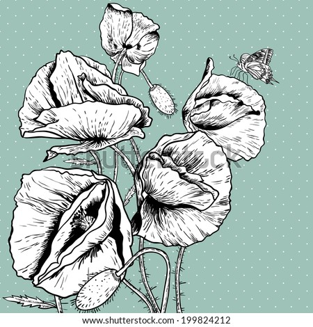Monochrome Background with Bunch of Beautiful Poppy  Vintage Invitation Floral Card Design with Poppy. - stock vector