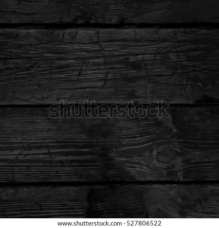 Monochrome background with the texture of a old wooden planks, dark wood, black hardwood, vector illustration.