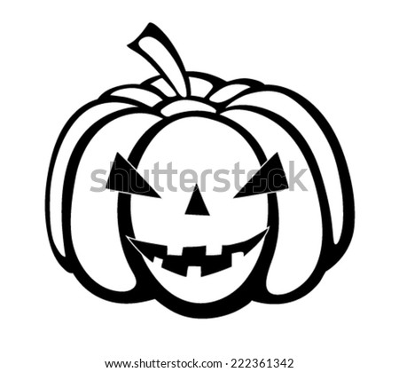 Monochrome black-and-white silhouette of pumpkin festive Halloween Special.  - stock vector