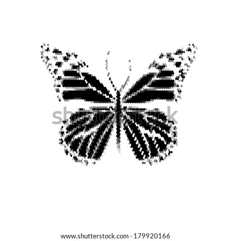 monochrome butterfly icon. Vector - stock vector