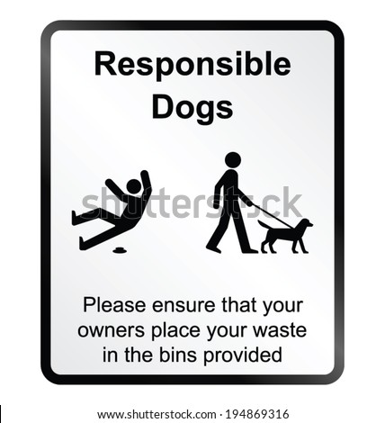 Monochrome comical responsible dog waste public information sign isolated on white background - stock vector