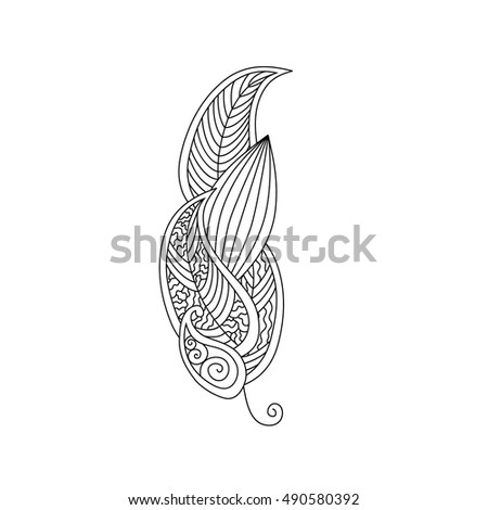 Monochrome contour image of feather with ornament inside isolated on white background. Good for antistress coloring book for adult and children, henna tattoo, prints. Editable vector illustration.