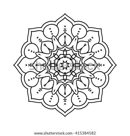 Monochrome contour mandala. Ethnic decorative elements. Hand drawn background. Islam, Arabic, Indian, ottoman motifs. Vintage decorative elements. Oriental pattern. - stock vector