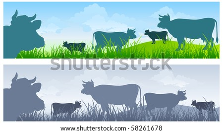 Monochrome cow silhouettes on green grass pasture over blue sky - stock vector