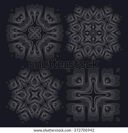 Monochrome elegant round pattern. Vector circular pattern from twisting lines. Mandala. - stock vector