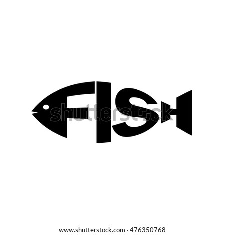 Monochrome Fish Stylized Silhouette Text Logo Stock Vector 476350768