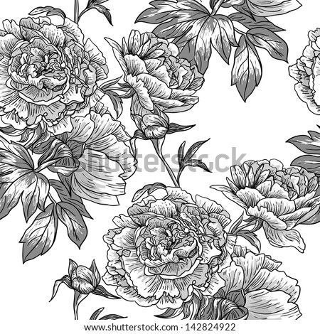 Monochrome floral pattern - stock vector