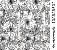 Monochrome floral seamless pattern - stock vector