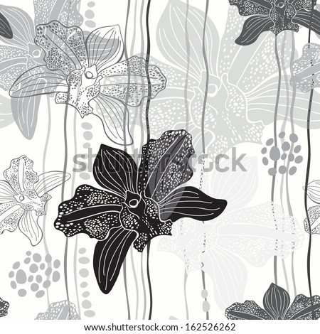 Monochrome floral seamless pattern with hand drawn orchids .Vector design. - stock vector