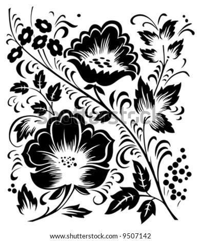 monochrome floral vector ornament - stock vector