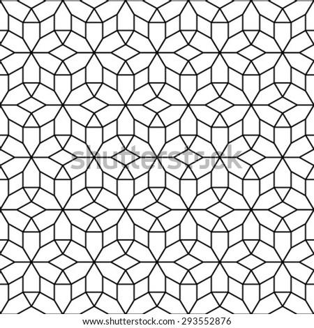 Monochrome geometric seamless pattern. - stock vector