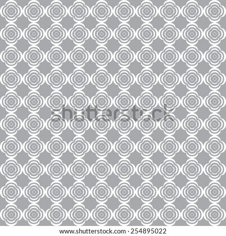 Monochrome geometric seamless pattern with diamonds and flowers - stock vector