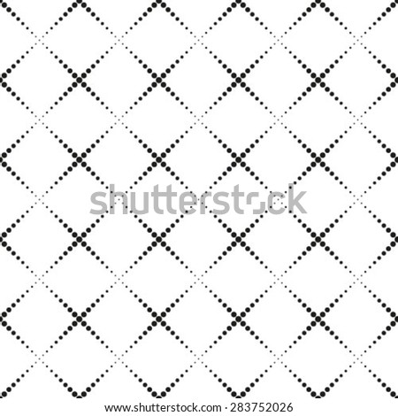 Monochrome geometric seamless pattern with dots - stock vector