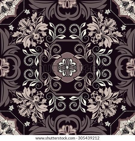 Monochrome geometric tile pattern. Floral seamless wallpaper - stock vector
