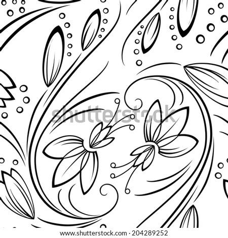 Monochrome graphics black-and-white seamless pattern with stylized flowers - stock vector