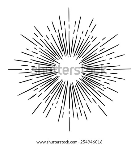 monochrome hand draw hipster style retro vector  starburst with ray for badge label or logo - stock vector