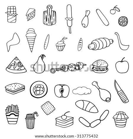 Monochrome hand drawn Doodle cartoon set of food theme. Vector illustration image.