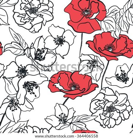 Monochrome handdrawn floral wallpaper elegant design stock vector hd monochrome hand drawn floral wallpaper elegant design seamless pattern white red mightylinksfo