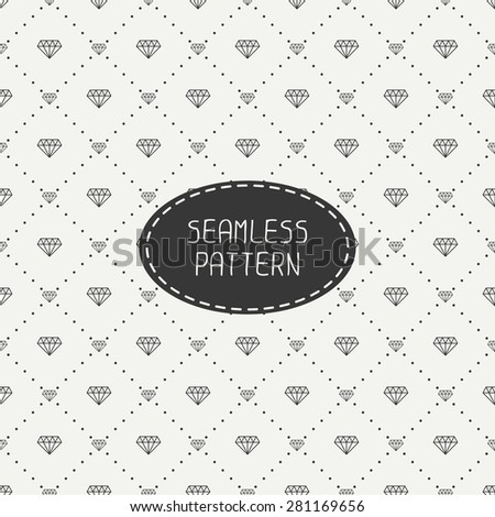 Monochrome hipster fashion geometric seamless pattern with diamond. Wrapping paper. Paper for scrapbook. Tiling. Vector illustration. Stylish graphic texture. - stock vector