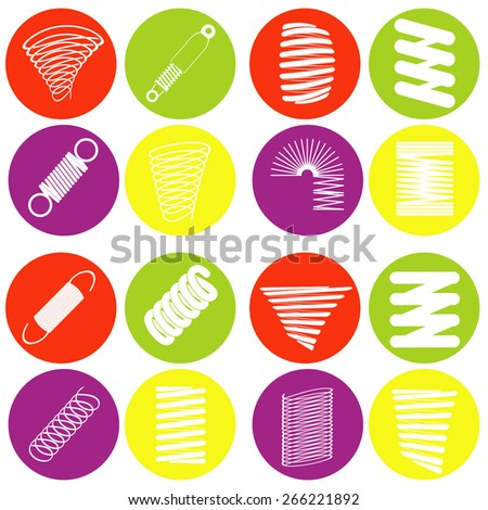 monochrome icon set with springs - stock vector