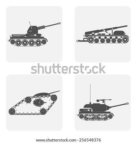 monochrome ikon set with military equipment tanks and self-propelled guns - stock vector