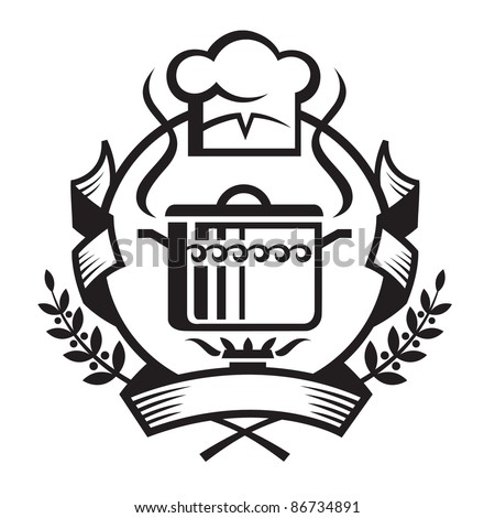 monochrome illustration of banner with cook hat and a pan - stock vector