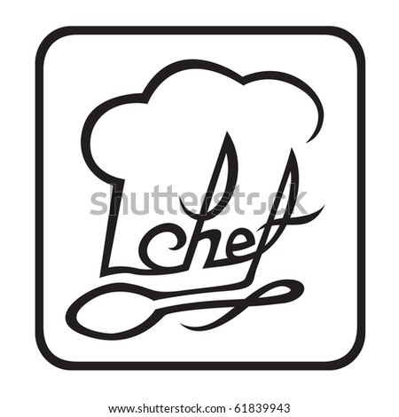 monochrome illustration of chef hat with spoon