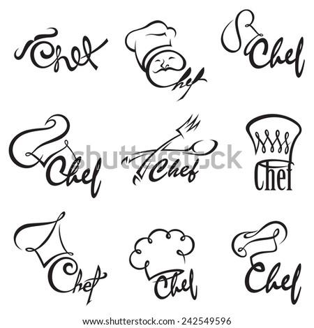monochrome illustration of chef sets - stock vector