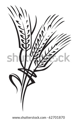 monochrome illustration of ears of wheat - stock vector