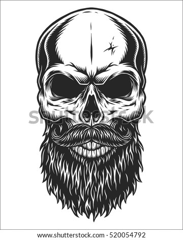 stock vector monochrome illustration of hipster skull with mustache and beard isolated on white background 520054792 - Beautiful Black People Hair Product