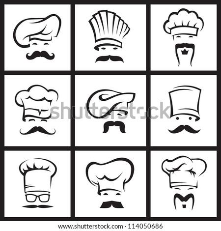 monochrome illustration of nine mustachioed chefs - stock vector