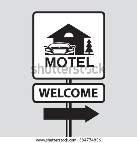 monochrome illustration of road sign to motel and car - stock vector