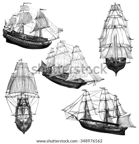 Monochrome illustration of ships - stock vector