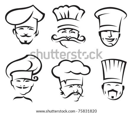 monochrome illustration of six chefs - stock vector