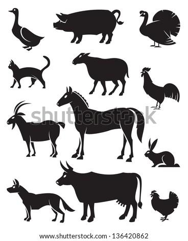 monochrome illustration of twelve farm animals - stock vector